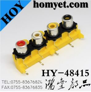 Four Holes in One Line RCA Ports/RCA Socket with Silvering in Yellow (HY-48415) pictures & photos