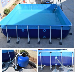 Metal Frame Swimming Pool for Backyard, Square Metal Frame Pool with Cover for Sale