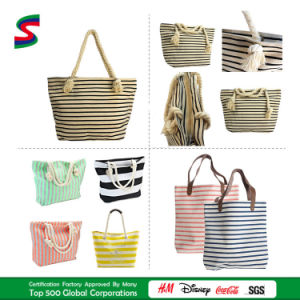 Durable Striped Canvas Shopping Tote Beach Bag with Cotton Webbing