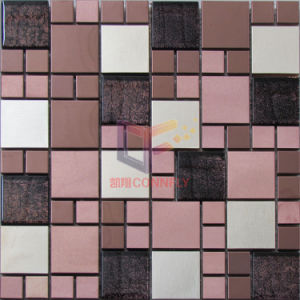 Stainless Steel Mix Glass Mosaic in Rose Brozen Color (CFM1082) pictures & photos