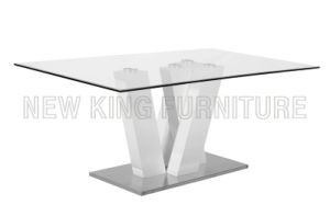 Modern Fashion Temper Glass Top and Stainless Steel Foot Dining Table (NK-DT008) pictures & photos