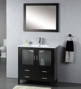 Free Standing Solid Oak Wood Bathroom Vanity with Glass Doors pictures & photos