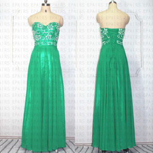 2014 Sweetheart Green Chiffon Long Prom Gown Real Sheer Illusion Beaded Prom Dress