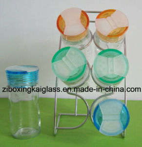 Clear Glass Spice Jar with Rack
