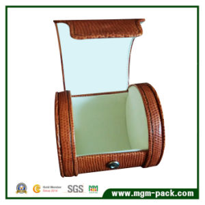 Luxury PU Leather Round Plastic Watch Box for Gift pictures & photos
