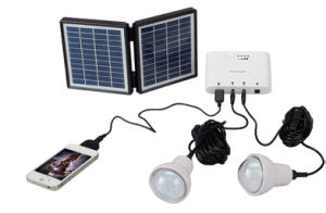 2LED 0.9W Super Bright Bulbs Solar Lighting Kits pictures & photos