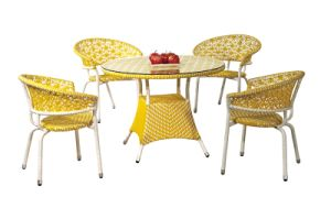 Garden Furniture Mixed Colored Yello White Outdoor Rattan Dining Chairs and Table pictures & photos