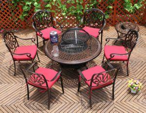 5-Piece Elisabeth Conversation Table Set with Round Tea Table/Ice Bucket/BBQ/Fire Pit, Antique Bronze pictures & photos