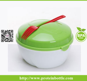 Plastic Salad Bowl with Fork Container pictures & photos