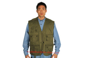 Multi-Pockets 100%Cotton Work Vest for Hunting and Fishing pictures & photos