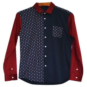 Xdl15036 Men′s Fashion Contrast Panels Shirt