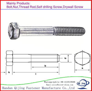 DIN931, DIN933 Hex Bolts, pictures & photos