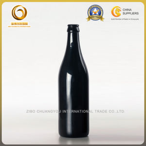 Customized 500ml Glossy Black Beer Glass Bottle (568) pictures & photos