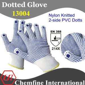 13G White Nylon Knitted Glove with 2-Side Blue PVC Dots/ En388: 214X pictures & photos