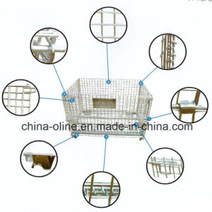 Stackable Folded Wire Mesh Container/Metal Cage pictures & photos