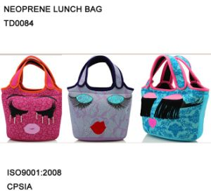 Eye Ear Nose Embroidery Cute Neoprene Lunch Bag Lunch Tote Bag pictures & photos