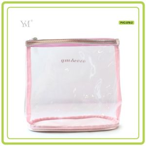 Portable Cute Travel Fashion Promotional Custom Clear PVC Mesh Cosmetic Toiletry Makeup Woman Bag pictures & photos