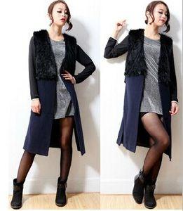 New Women′s Fashion Navy Faux Fur Long Vest Sleeveless Woolen Coat Outwear pictures & photos