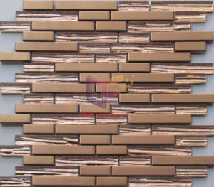 Strip Titamiun Crystal with Bronze Color Stainless Steel Mosaic (CFM953) pictures & photos
