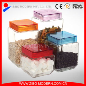 Wholesale Clear Square Glass Cookie Storage Jar with Beautiful Color Lid pictures & photos