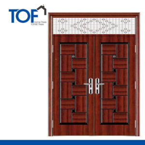 Exterior Decorated High Quality Security Steel Double Swing Door