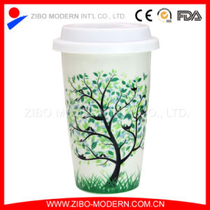 Wholesale Hot Double Wall Ceramic Coffee Mug with Silicone Lid pictures & photos
