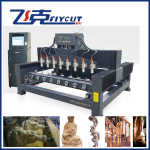 8 Heads 4 Axis CNC Engraving Machine for Column Wood pictures & photos