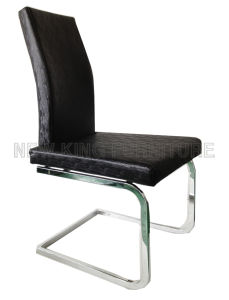 Modern Luxurious Chrome Steel Foot PU Leather Dining Chair (NK-DC082)