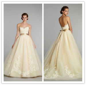 2014 Custom Made Ball Gown Strapless Appliqued Floor Length Tulle Girls Party Dresses (hs084)