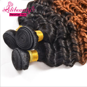 Ombre Color Weavon Straight Hair, Peruvian Human Hair Extension pictures & photos