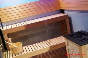 Monalisa Double Side Seats Style 4 People Cedar Wooden Sauna Cabinet (M-6043) pictures & photos