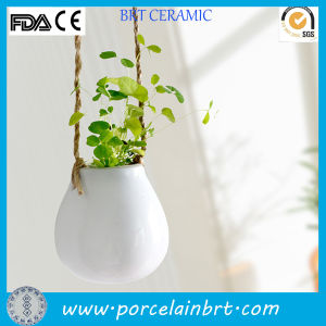 Cheap White Egg Shape Ceramic Hanging Flower Pot pictures & photos