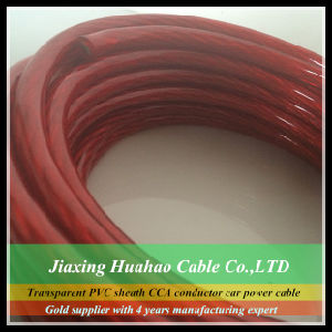 Transparen PVC Jacket 1/0AWG-18AWG Copper Condcutor Car Audio Power Cable pictures & photos