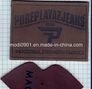 Embossed Leather Label for Jean New Design Eco-Friendly White Leather Patch with Metal pictures & photos