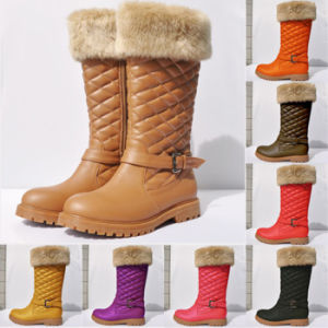 Ladies Boots Shoes Buckle Winter Warm Grip Sole Zip Flats