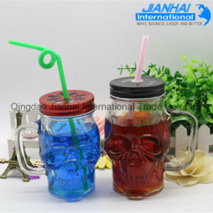 Skull Shaped Glass Mason Jar with Metal Lid pictures & photos