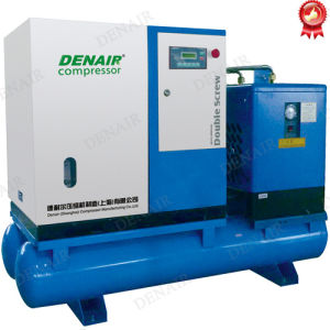 Stationary Rotary Screw Air Compressor with Air Horizontal Tanks pictures & photos