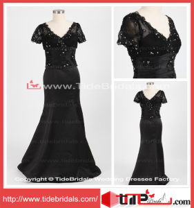 Custom Design Black Memaid Short Sleeves Long Lace Satin Mother of The Bride Dress (TC08119)