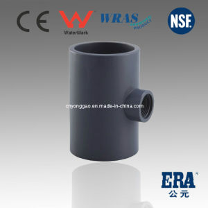 PVC DIN Standard Fitting Plastic Female Reducing Tee pictures & photos