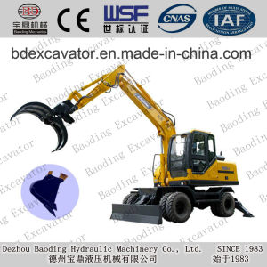 Baoding machinery Small Wheel Excavators with Grassping for Sale pictures & photos