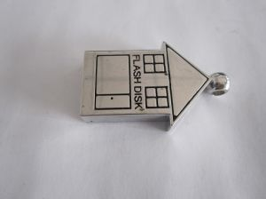 Metal House Shape USB Flash Drive USB 2.0 with Keyring (OM-P129) pictures & photos