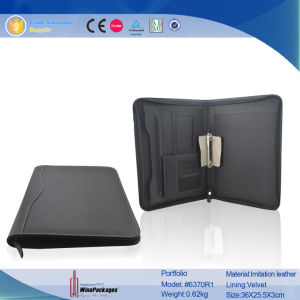 PU Leather Zippered Portfolio (6370) pictures & photos