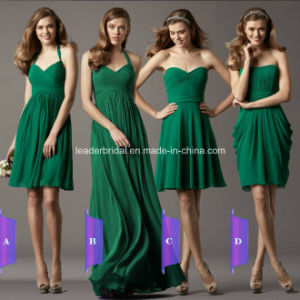 Short Long Simple Evening Party Dress Grass Green Chiffon Bridesmaid Dresses Bb2016 pictures & photos
