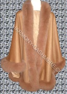 Cashmere Cape With Blue Fox Fur (HM-CAF09001) pictures & photos