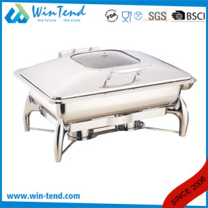 Electrolytic Stainless Steel Luxury Roll Top Glass Lid Oblong Chafing Dish for Sale with Fuel Holder pictures & photos