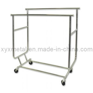 Rolling Folding Double Rails Garment Salesmen Clothing Rack pictures & photos