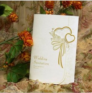 Double Heart Wedding Invitation Card