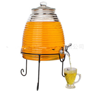 Glass Creal Beer Wine Dispenser with Faucet with Metal Base Stand pictures & photos