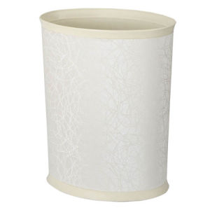 Oval Shape Hotel Waste Bin with Ivory Leatherette Cover pictures & photos