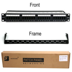 24 Port CAT6 Rj-45 UTP Unshielded Rackmount Patch Panel, Certified 100MHz pictures & photos